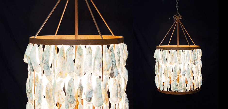 Oyster Shell Lamp – 18″ Drum