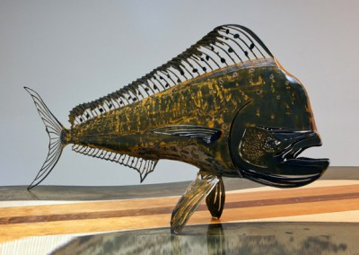 Steel free standing Mahi Mahi in rust finish (3 dimensional)