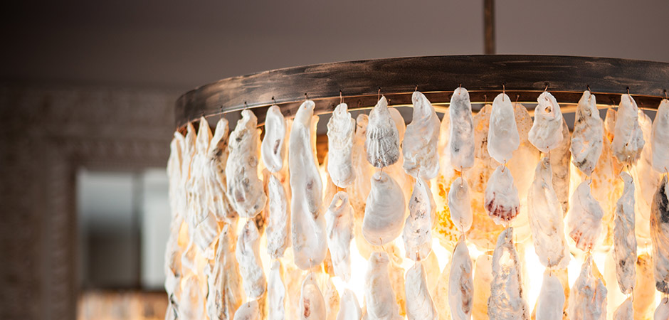 Oyster Shell Chandelier Layered