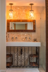 Bathroom Vanity Barnwood Mirror Oyster Pendant Lights