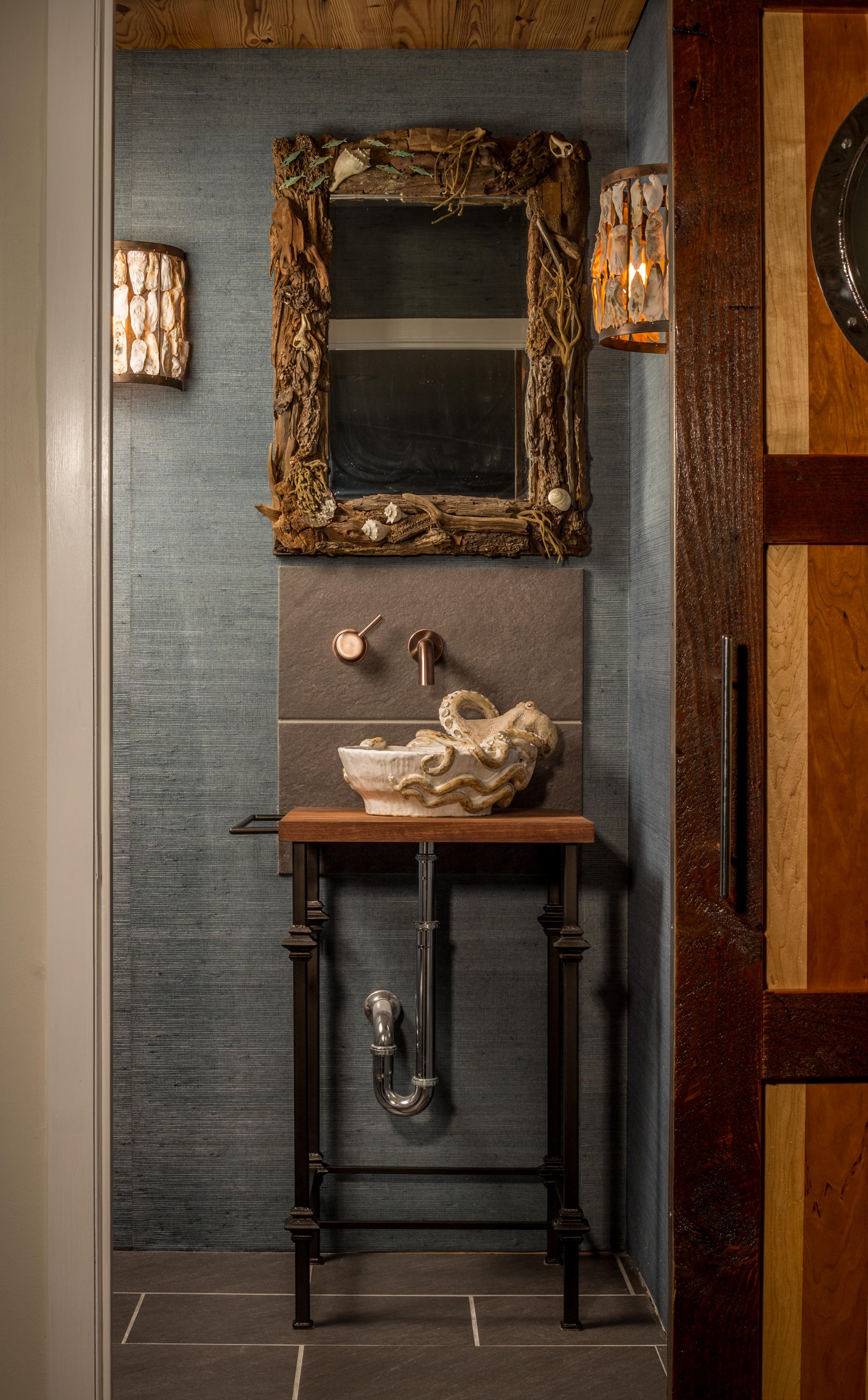 Perfect Bathroom Vanity Driftwood Mirror & Sconces - R Mended Metals, LLC YV32