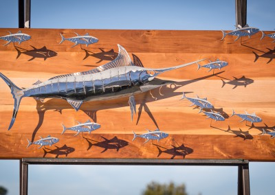 Blue Marlin Chasing Tunas Polished Stainless Steel 2