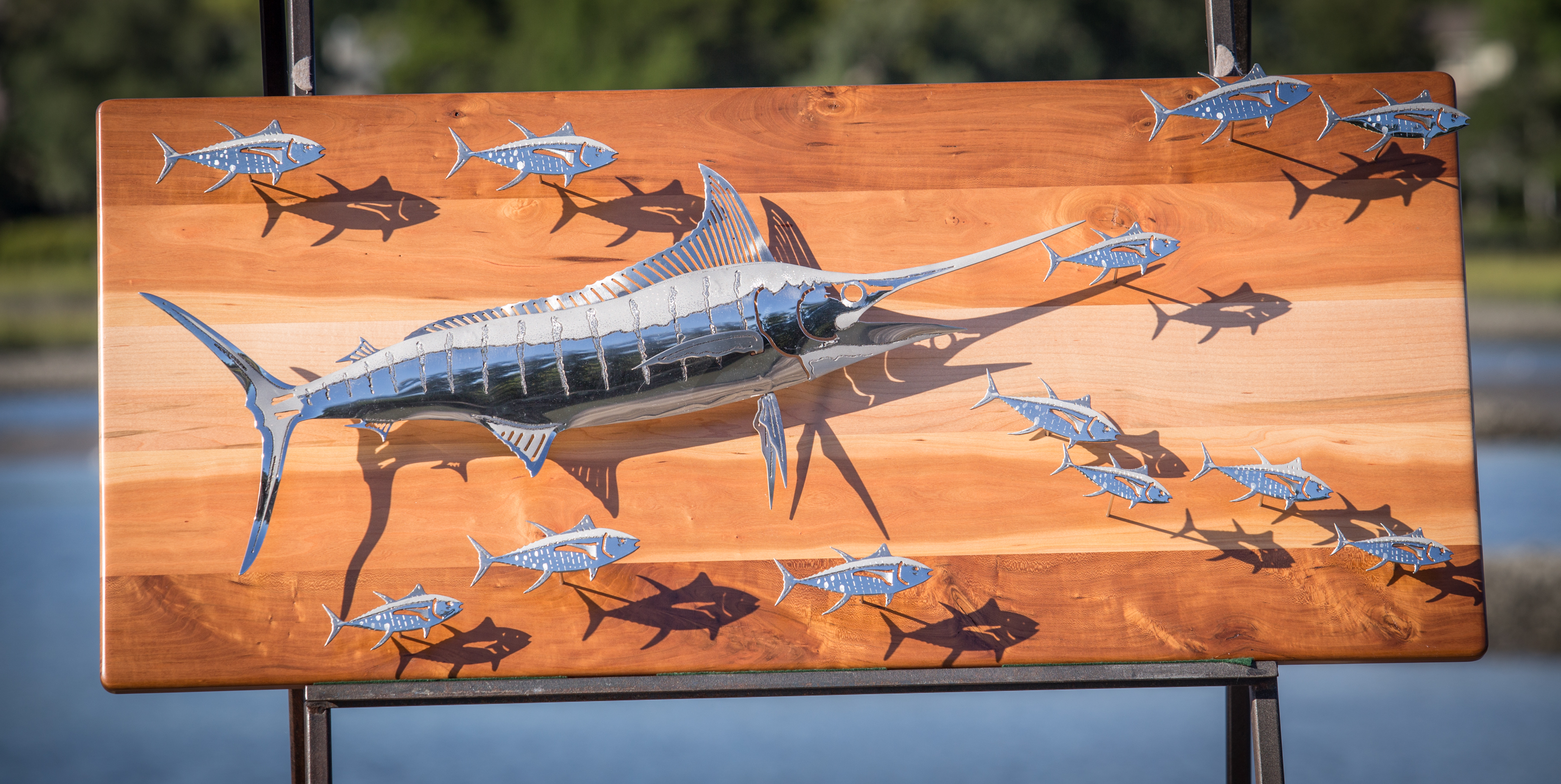 Blue Marlin Chasing Tunas Polished Stainless Steel