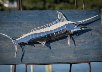 Blue Marlin Polished Stainless Steel Blue Wood 2