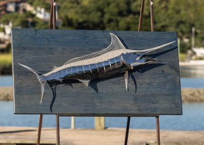 Blue Marlin Polished Stainless Steel Blue Wood