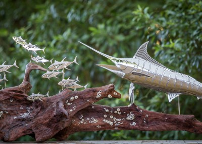 Blue Marlin Polished Stainless Steel Driftwood Sculpture 3