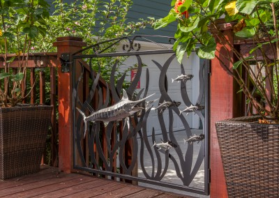 Blue Marlin Polished Stainless Steel Sculpture and Gate 2