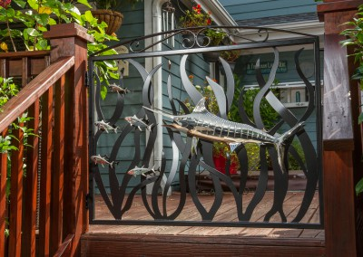 Blue Marlin Polished Stainless Steel Sculpture and Gate 4
