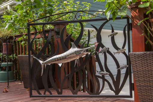 Blue Marlin Polished Stainless Steel Sculpture and Gate