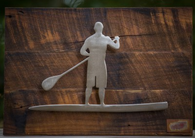 Brushed Stainless Steel Paddleboarder on Barnwood