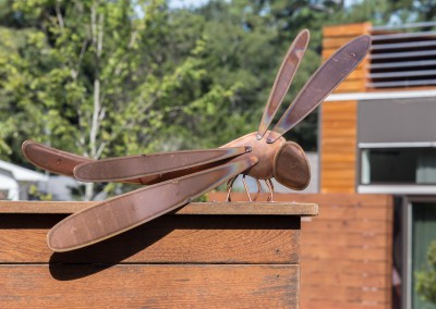 Brushed Stainless Steel Sign with Copper Dragonfly 4