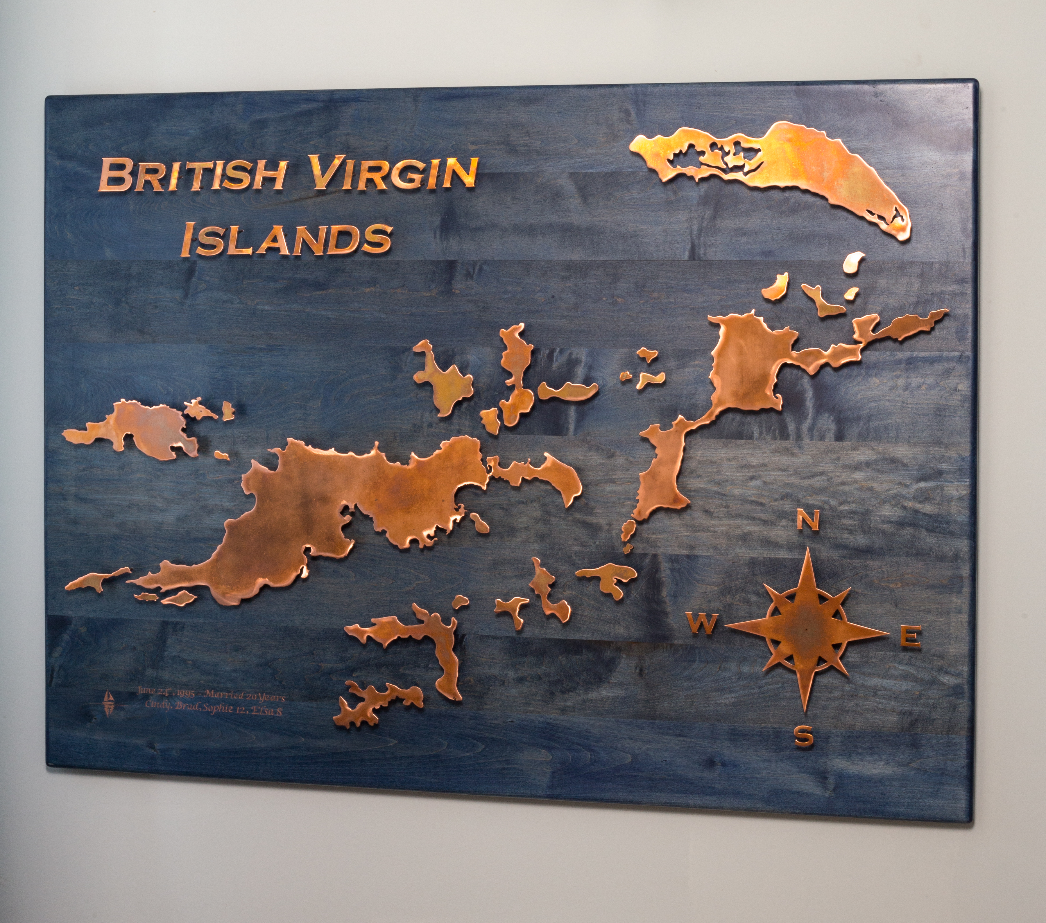 Copper Map of BVI on Blue Stained Wood