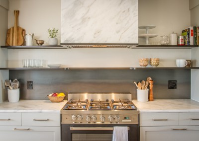 Hot Rolled Steel KItchen Backsplash with Floating Shelving 2
