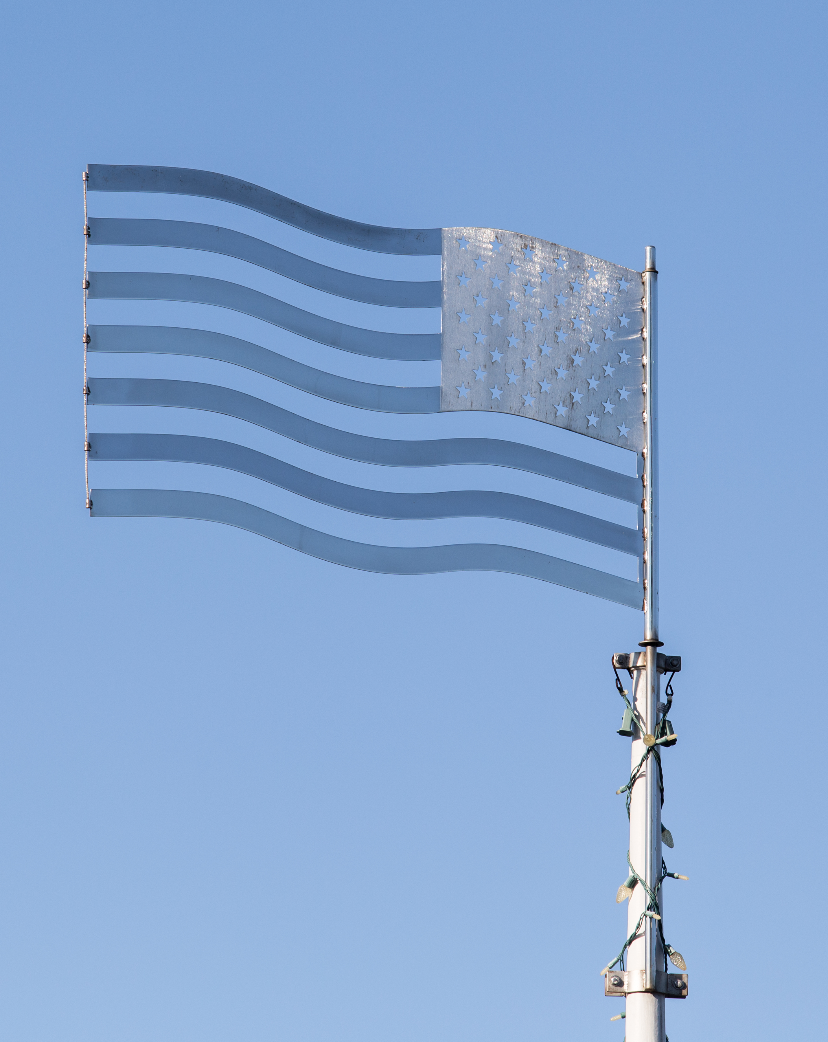 Polished Stainless Steel American Flag