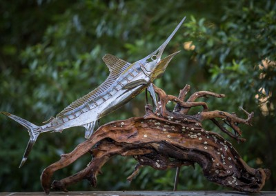 Rusted Steel Blue Marlin Driftwood Sculpture
