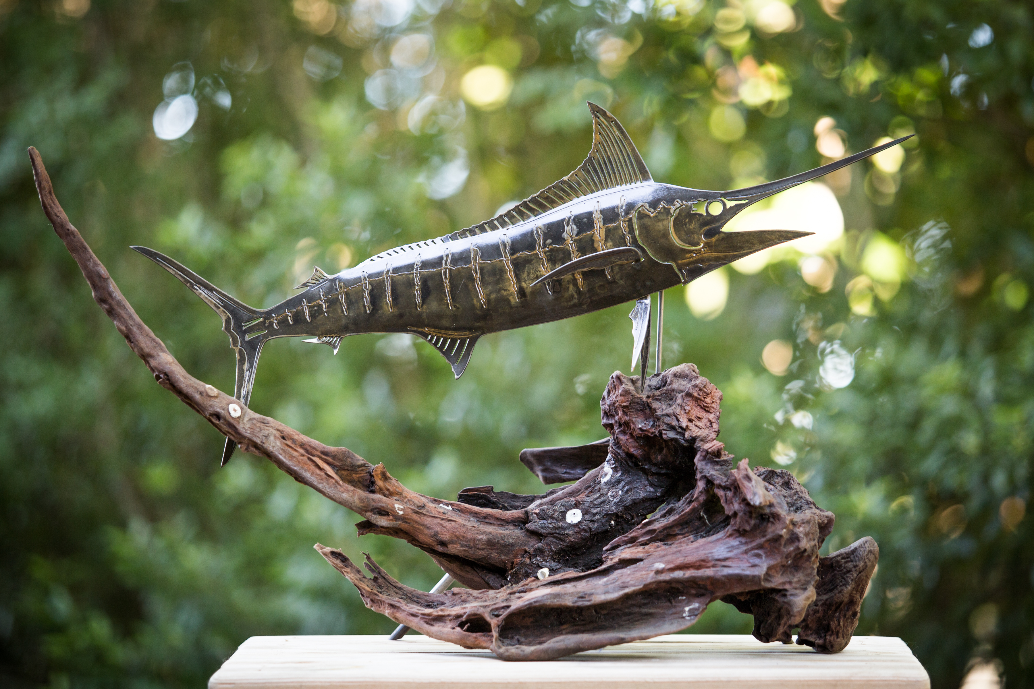 Rusted Steel Blue Marlin on Drift Wood