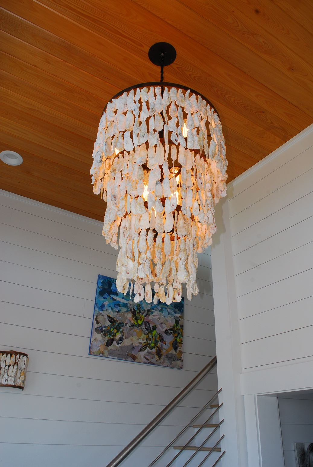 Three Tiered Oyster Shell Chandelier