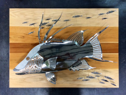 Hog Snapper Polished Stainless Wood Sculpture