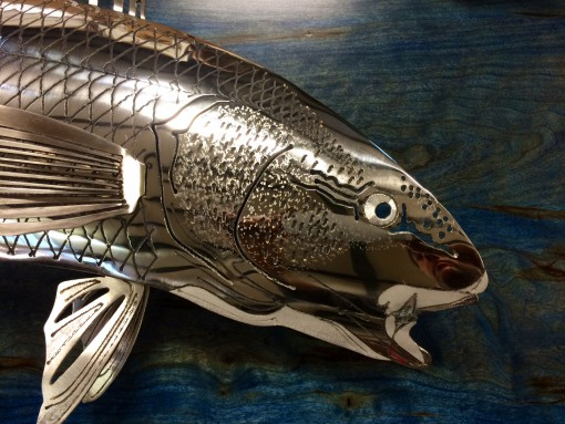 Red Drum Stainless Steel Wood Sculpture
