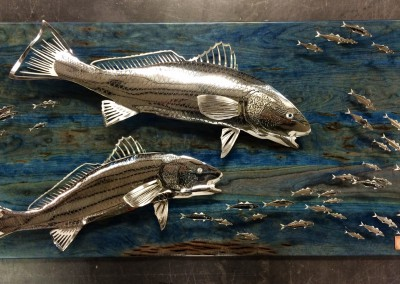 Stainless Red Drum Wood Sculpture
