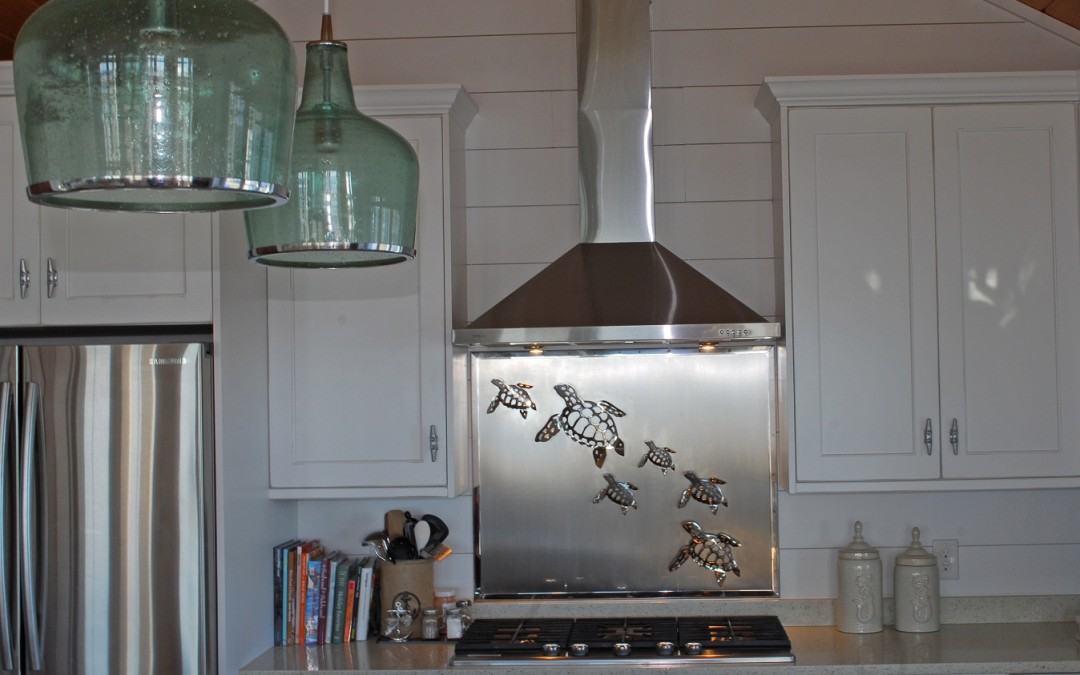 Stainless Steel Backsplash With Sea Turtles