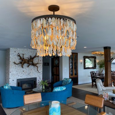 "Oyster Chandelier 24"" Double Waterfall"