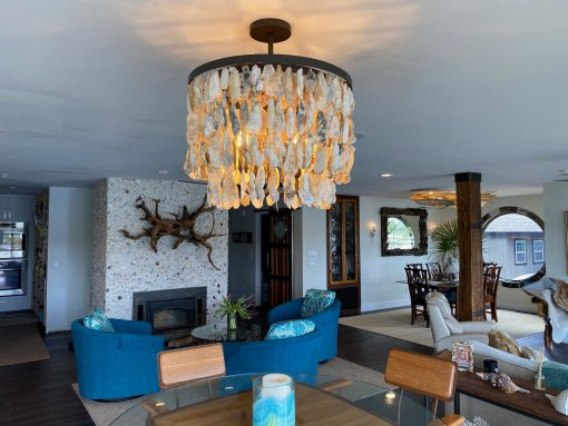 Oyster Shell Chandelier Double Waterfall